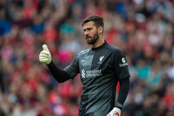 LIVERPOOL, ENGLAND - Sunday, August 8, 2021: Liverpool's goalkeeper Alisson Becker during a pre-season friendly match between Liverpool FC and Athletic Club de Bilbao at Anfield. (Pic by David Rawcliffe/Propaganda)