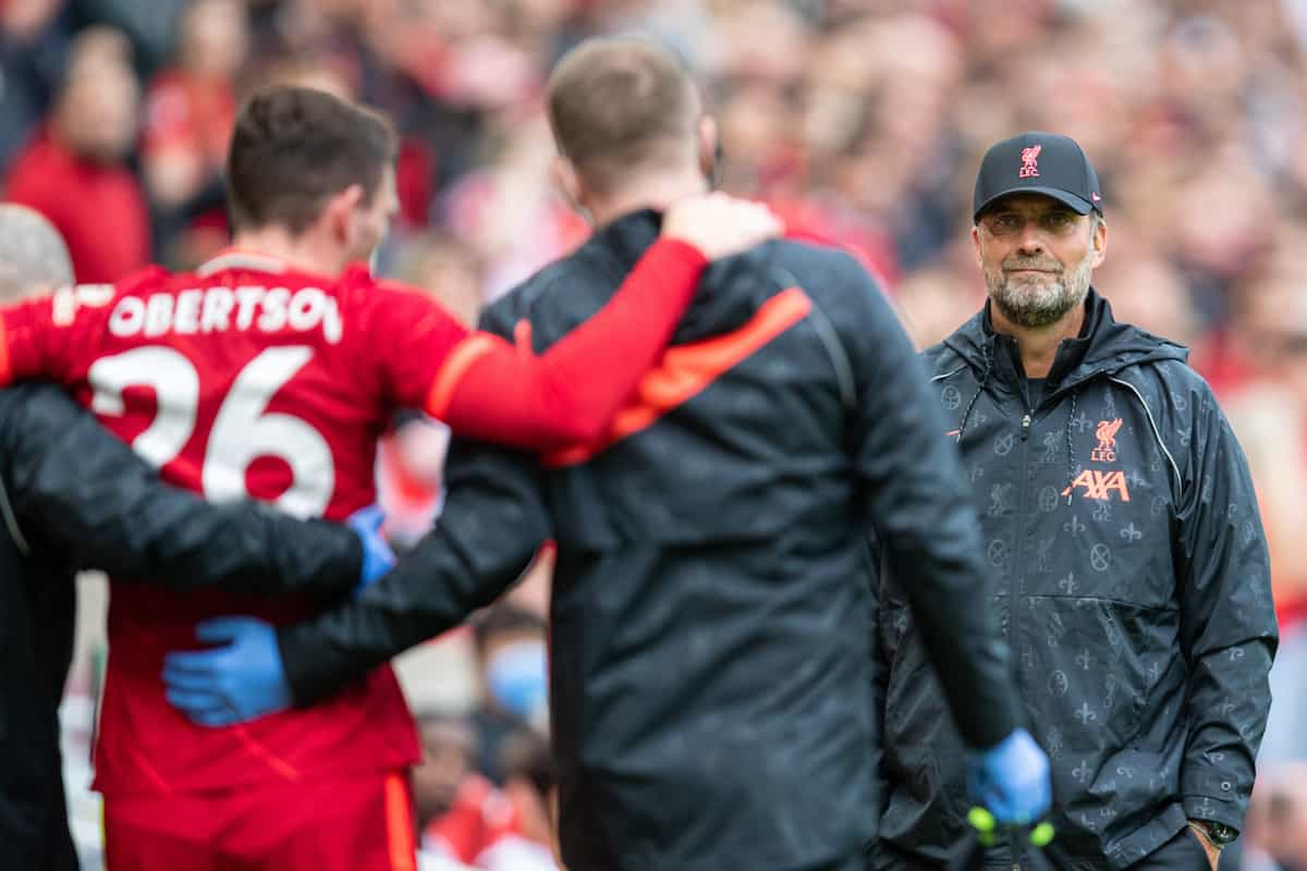 LIVERPOOL, ENGLAND - Sunday, August 8, 2021: Liverpool's manager Jürgen Klopp looks on as Andy Robertson goes off with an injury during a pre-season friendly match between Liverpool FC and Athletic Club de Bilbao at Anfield. (Pic by David Rawcliffe/Propaganda)
