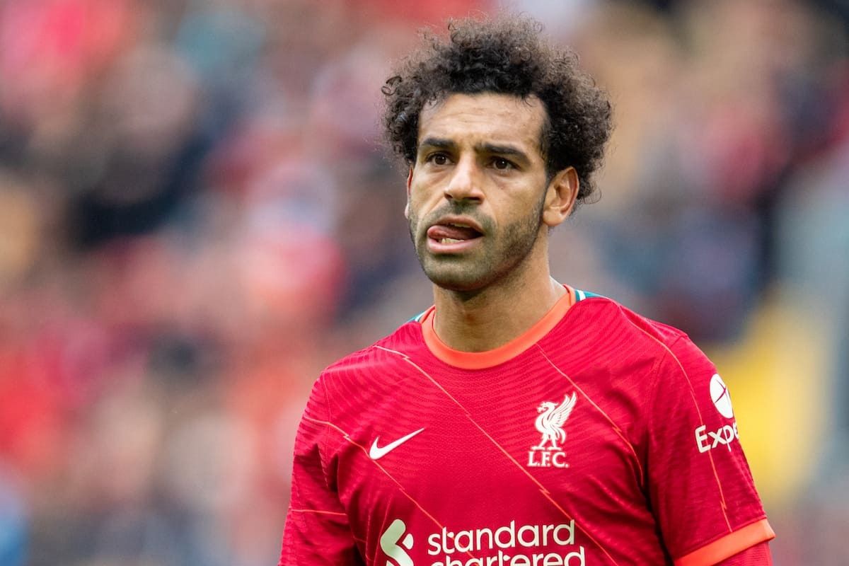 LIVERPOOL, ENGLAND - Sunday, August 8, 2021: Liverpool's Mohamed Salah during a pre-season friendly match between Liverpool FC and Athletic Club de Bilbao at Anfield. (Pic by David Rawcliffe/Propaganda)