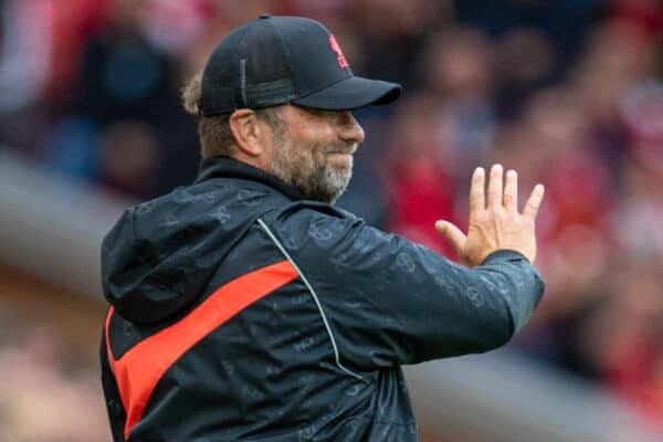LIVERPOOL, ENGLAND - Sunday, August 8, 2021: Liverpool's manager Jürgen Klopp during a pre-season friendly match between Liverpool FC and Athletic Club de Bilbao at Anfield. (Pic by David Rawcliffe/Propaganda)