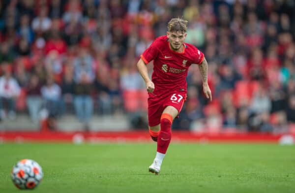 LIVERPOOL, ENGLAND - Sunday, August 8, 2021: Liverpool's Harvey Elliott during a pre-season friendly match between Liverpool FC and Athletic Club de Bilbao at Anfield. (Pic by David Rawcliffe/Propaganda)
