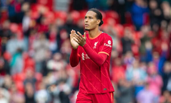 LIVERPOOL, ENGLAND - Sunday, August 8, 2021: Liverpool's Virgil van Dijk applauds the supporters after a pre-season friendly match between Liverpool FC and Athletic Club de Bilbao at Anfield. (Pic by David Rawcliffe/Propaganda)
