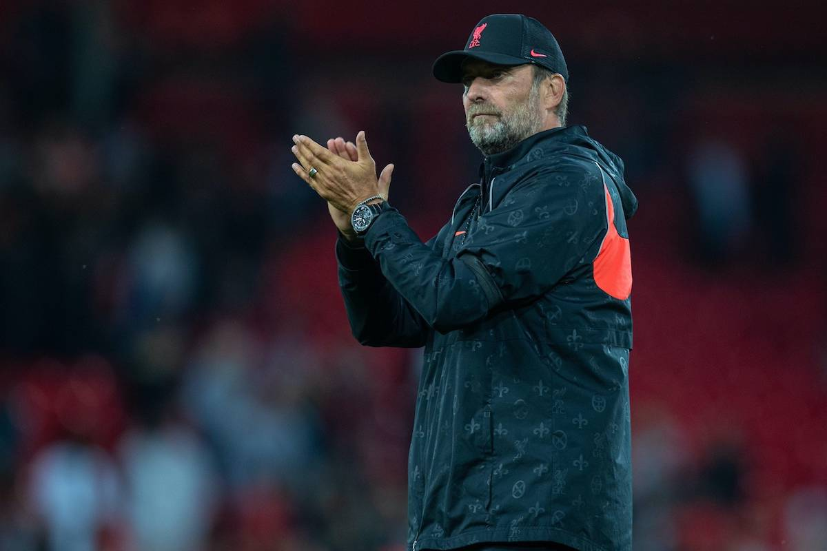 LIVERPOOL, ENGLAND - Monday, August 9, 2021: Liverpool's manager Jürgen Klopp applauds the supporters after a pre-season friendly match between Liverpool FC and Club Atlético Osasuna at Anfield. Liverpool won 3-1. (Pic by David Rawcliffe/Propaganda)