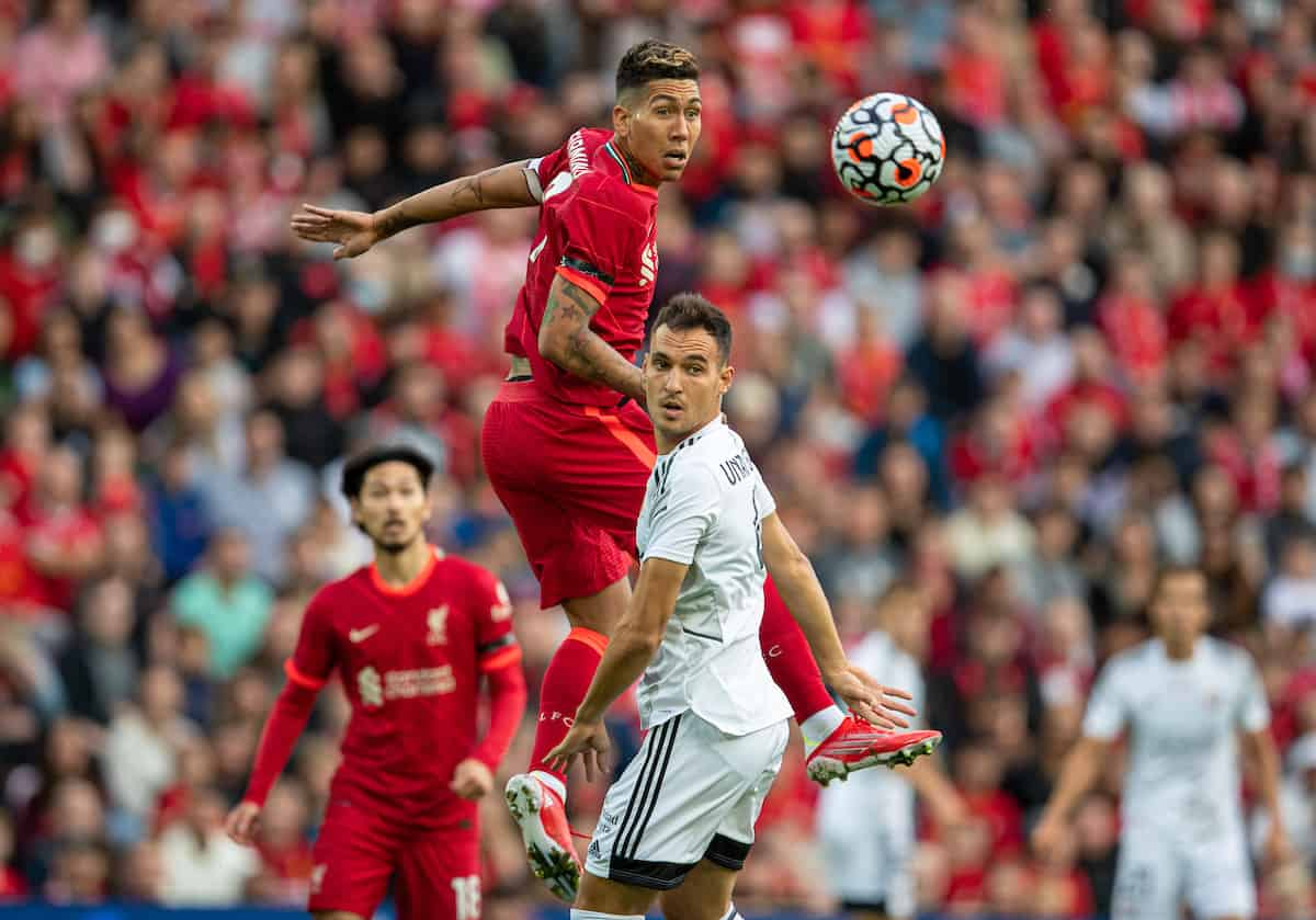 LIVERPOOL, ENGLAND - Monday, August 9, 2021: Liverpool's Roberto Firmino during a pre-season friendly match between Liverpool FC and Club Atlético Osasuna at Anfield. (Pic by David Rawcliffe/Propaganda)