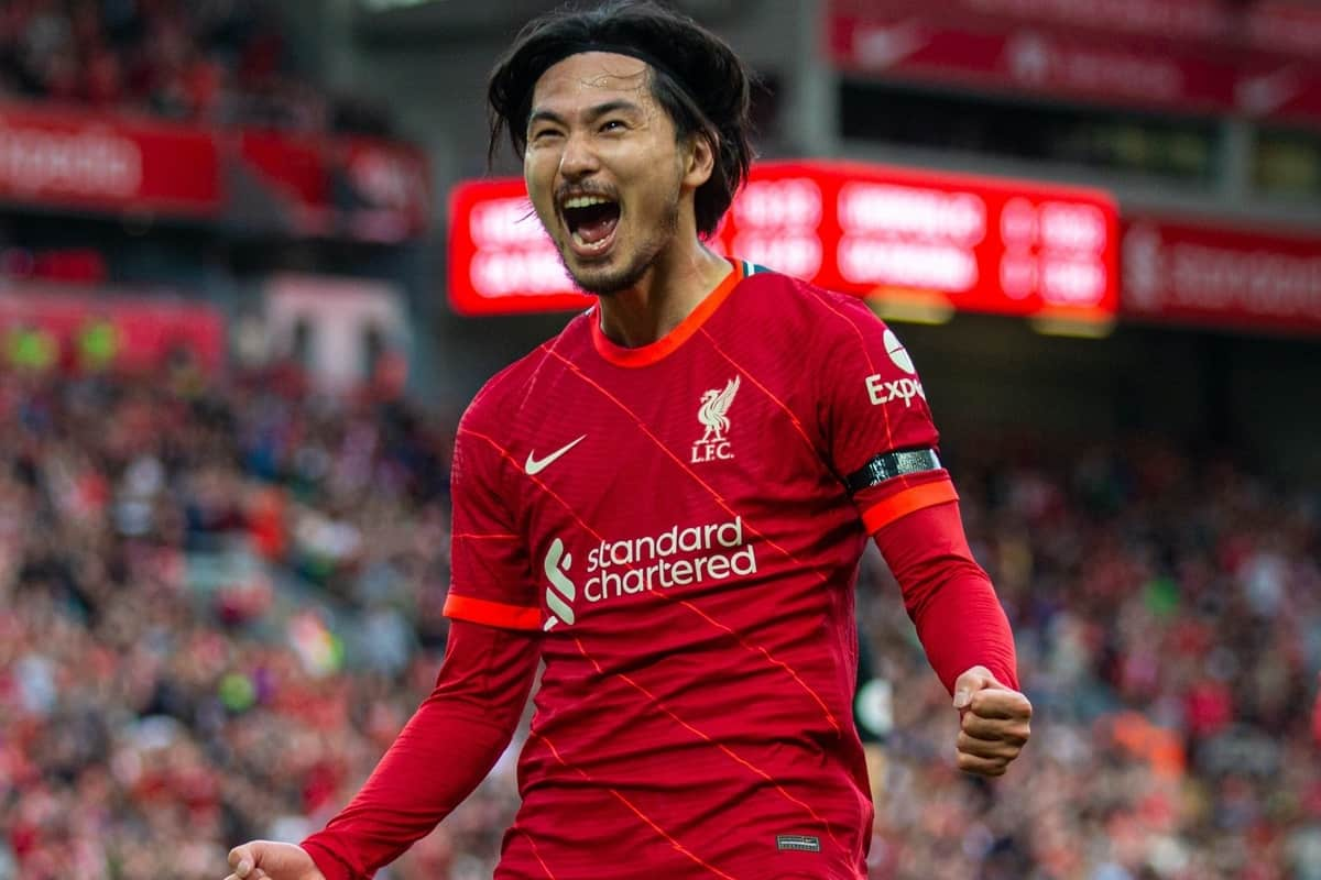 LIVERPOOL, ENGLAND - Monday, August 9, 2021: Liverpool's Takumi Minamino celebrates after scoring the first goal during a pre-season friendly match between Liverpool FC and Club Atlético Osasuna at Anfield. (Pic by David Rawcliffe/Propaganda)