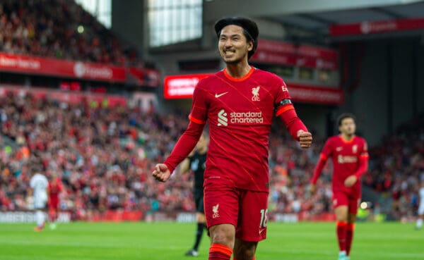 Liverpool's Takumi Minamino celebrates after scoring the first goal during a pre-season friendly match between Liverpool FC and Club Atlético Osasuna at Anfield. (Pic by David Rawcliffe/Propaganda)