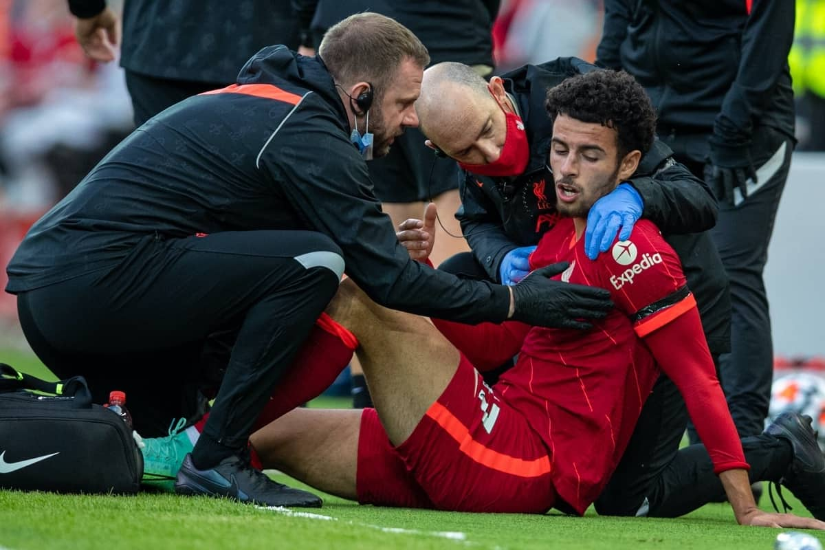 LIVERPOOL, ENGLAND - Monday, August 9, 2021: Liverpool's Curtis Jones goes down with an injury during a pre-season friendly match between Liverpool FC and Club Atlético Osasuna at Anfield. (Pic by David Rawcliffe/Propaganda)
