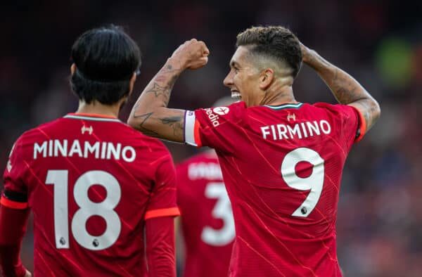 LIVERPOOL, ENGLAND - Monday, August 9, 2021: Liverpool's Roberto Firmino celebrates after scoring the second goal during a pre-season friendly match between Liverpool FC and Club Atlético Osasuna at Anfield. (Pic by David Rawcliffe/Propaganda)