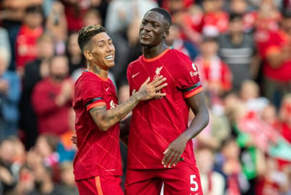 LIVERPOOL, ENGLAND - Monday, August 9, 2021: Liverpool's Roberto Firmino (L) celebrates after scoring the third goal, his second, with team-mate Ibrahima Konaté during a pre-season friendly match between Liverpool FC and Club Atlético Osasuna at Anfield. (Pic by David Rawcliffe/Propaganda)