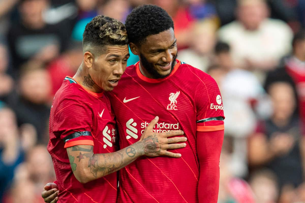 LIVERPOOL, ENGLAND - Monday, August 9, 2021: Liverpool's Roberto Firmino (L) celebrates after scoring the third goal, his second, with team-mate Joe Gomez during a pre-season friendly match between Liverpool FC and Club Atlético Osasuna at Anfield. (Pic by David Rawcliffe/Propaganda)