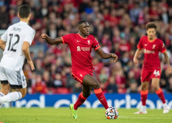 LIVERPOOL, ENGLAND - Monday, August 9, 2021: Liverpool's Ibrahima Konaté during a pre-season friendly match between Liverpool FC and Club Atlético Osasuna at Anfield. (Pic by David Rawcliffe/Propaganda)