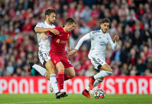 LIVERPOOL, ENGLAND - Monday, August 9, 2021: Liverpool's Ben Woodburn is fouled during a pre-season friendly match between Liverpool FC and Club Atlético Osasuna at Anfield. (Pic by David Rawcliffe/Propaganda)