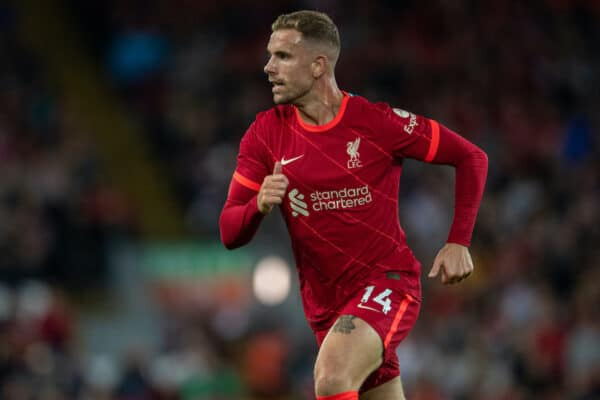 LIVERPOOL, ENGLAND - Monday, August 9, 2021: Liverpool's captain Jordan Henderson during a pre-season friendly match between Liverpool FC and Club Atlético Osasuna at Anfield. (Pic by David Rawcliffe/Propaganda)