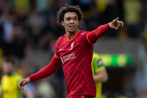 NORWICH, ENGLAND - Saturday, August 14, 2021: Liverpool's Trent Alexander-Arnold during the FA Premier League match between Norwich City FC and Liverpool FC at Carrow Road. (Pic by David Rawcliffe/Propaganda)