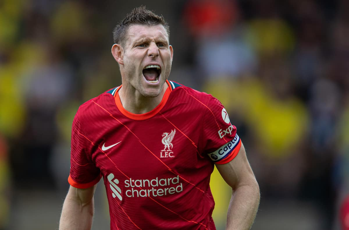 NORWICH, ENGLAND - Saturday, August 14, 2021: Liverpool's James Milner during the FA Premier League match between Norwich City FC and Liverpool FC at Carrow Road. (Pic by David Rawcliffe/Propaganda)