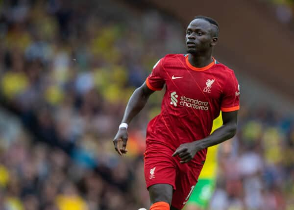 NORWICH, ENGLAND - Saturday, August 14, 2021: Liverpool's Sadio Mané during the FA Premier League match between Norwich City FC and Liverpool FC at Carrow Road. (Pic by David Rawcliffe/Propaganda)