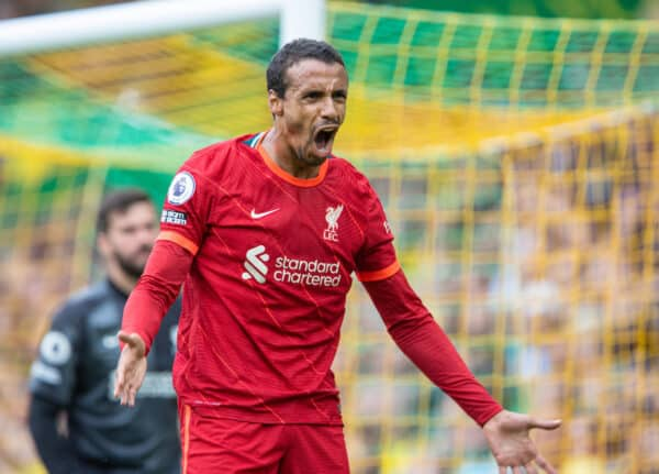 NORWICH, ENGLAND - Saturday, August 14, 2021: Liverpool's Joel Matip during the FA Premier League match between Norwich City FC and Liverpool FC at Carrow Road. (Pic by David Rawcliffe/Propaganda)