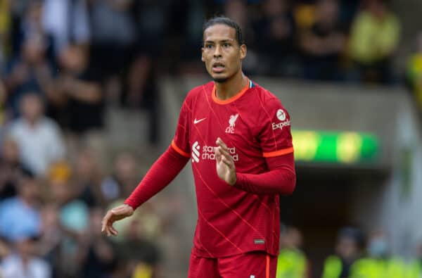 NORWICH, ENGLAND - Saturday, August 14, 2021: Liverpool's Virgil van Dijk during the FA Premier League match between Norwich City FC and Liverpool FC at Carrow Road. (Pic by David Rawcliffe/Propaganda)