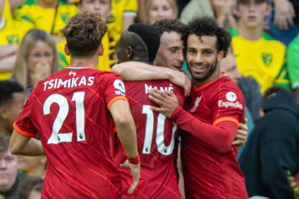NORWICH, ENGLAND - Saturday, August 14, 2021: Liverpool's Diogo Jota (C) celebrates after scoring the first goal during the FA Premier League match between Norwich City FC and Liverpool FC at Carrow Road. (Pic by David Rawcliffe/Propaganda)