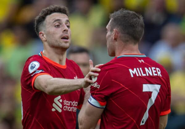 NORWICH, ENGLAND - Saturday, August 14, 2021: Liverpool's Diogo Jota (L) celebrates after scoring the first goal during the FA Premier League match between Norwich City FC and Liverpool FC at Carrow Road. (Pic by David Rawcliffe/Propaganda)