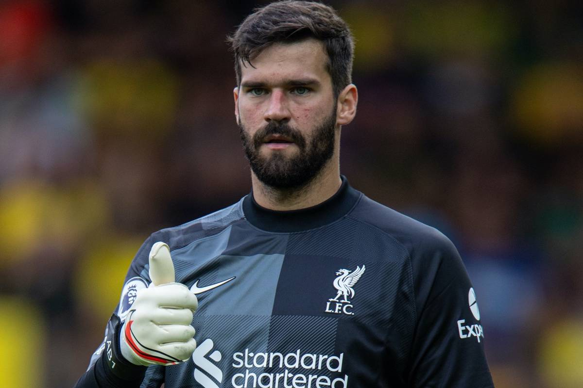 NORWICH, ENGLAND - Saturday, August 14, 2021: Liverpool's goalkeeper Alisson Becker during the FA Premier League match between Norwich City FC and Liverpool FC at Carrow Road. (Pic by David Rawcliffe/Propaganda)