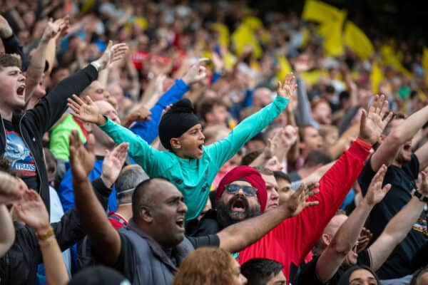 NORWICH, ENGLAND - Saturday, August 14, 2021: Liverpool supporters during the FA Premier League match between Norwich City FC and Liverpool FC at Carrow Road. (Pic by David Rawcliffe/Propaganda)