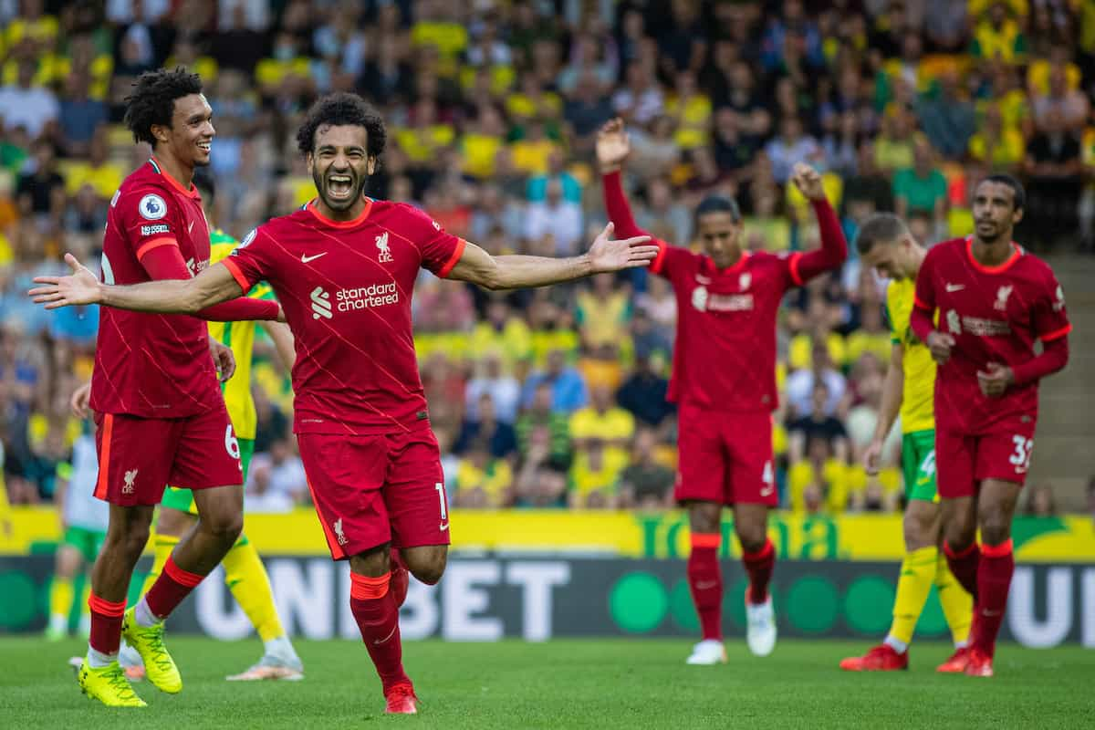 NORWICH, ENGLAND - Saturday, August 14, 2021: Liverpool's Mohamed Salah celebrates after scoring the third goal during the FA Premier League match between Norwich City FC and Liverpool FC at Carrow Road. (Pic by David Rawcliffe/Propaganda)