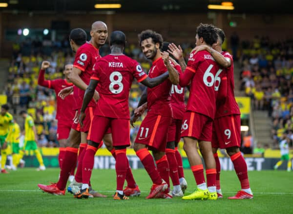 NORWICH, ENGLAND - Saturday, August 14, 2021: Liverpool's Mohamed Salah (C) celebrates after scoring the third goal during the FA Premier League match between Norwich City FC and Liverpool FC at Carrow Road. (Pic by David Rawcliffe/Propaganda)