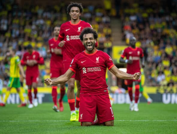 Liverpool's Mohamed Salah celebrates after scoring the third goal during the FA Premier League match between Norwich City FC and Liverpool FC at Carrow Road. (Pic by David Rawcliffe/Propaganda)