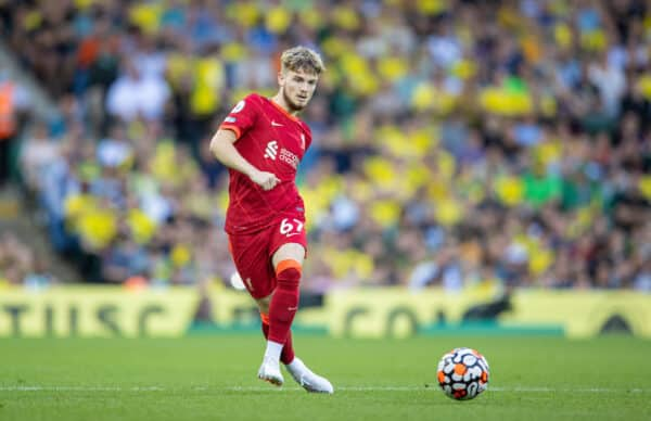 NORWICH, ENGLAND - Saturday, August 14, 2021: Liverpool's Harvey Elliott during the FA Premier League match between Norwich City FC and Liverpool FC at Carrow Road. (Pic by David Rawcliffe/Propaganda)