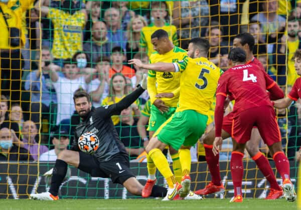 NORWICH, ENGLAND - Saturday, August 14, 2021: Liverpool's goalkeeper Alisson Becker makes a save during the FA Premier League match between Norwich City FC and Liverpool FC at Carrow Road. (Pic by David Rawcliffe/Propaganda)