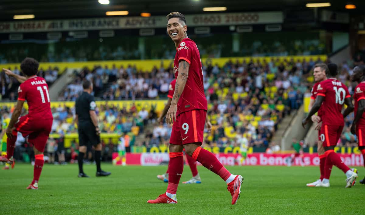 NORWICH, ENGLAND - Saturday, August 14, 2021: Liverpool's Roberto Firmino celebrates after scoring the second goal during the FA Premier League match between Norwich City FC and Liverpool FC at Carrow Road. (Pic by David Rawcliffe/Propaganda)