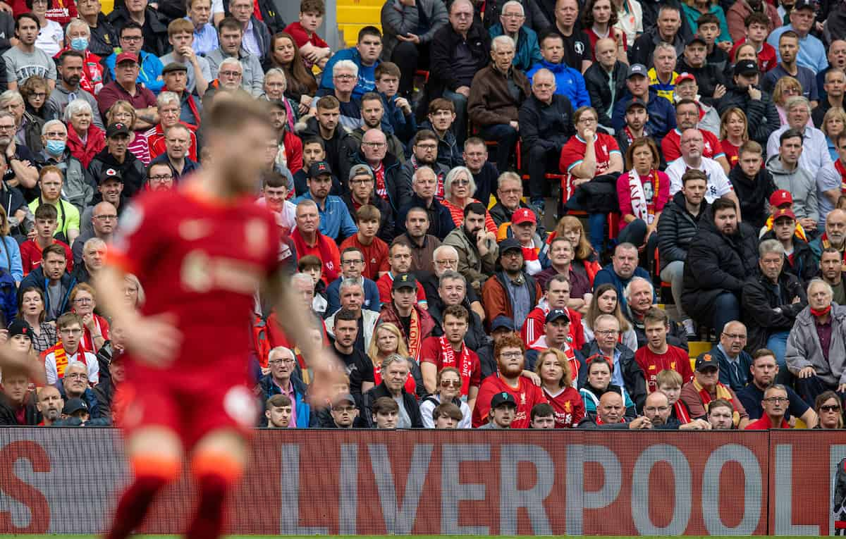 LIVERPOOL, ENGLAND - Saturday, August 21, 2021: A full house of Liverpool supporters back at Anfield during the FA Premier League match between Liverpool FC and Burnley FC. (Pic by David Rawcliffe/Propaganda)
