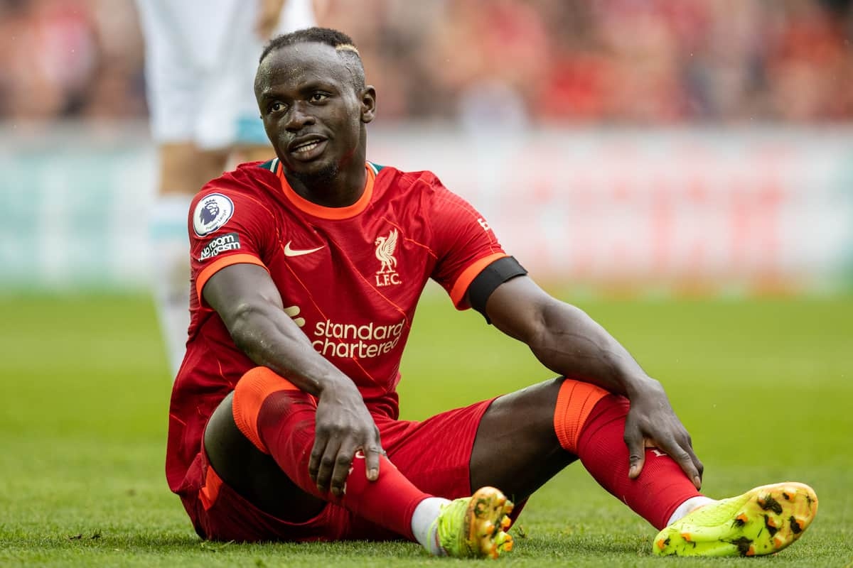 LIVERPOOL, ENGLAND - Saturday, August 21, 2021: Liverpool's Sadio Mané during the FA Premier League match between Liverpool FC and Burnley FC at Anfield. (Pic by David Rawcliffe/Propaganda)
