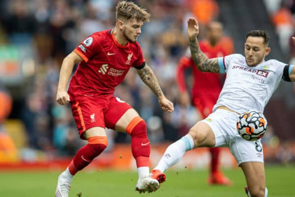 LIVERPOOL, ENGLAND - Saturday, August 21, 2021: Liverpool's Harvey Elliott (L) is challenged by Burnley's Josh Brownhill during the FA Premier League match between Liverpool FC and Burnley FC at Anfield. (Pic by David Rawcliffe/Propaganda)