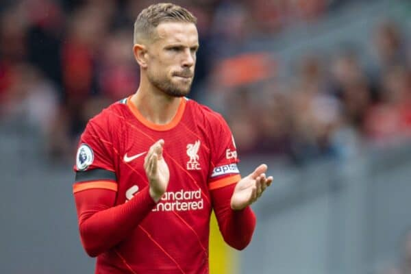 LIVERPOOL, ENGLAND - Saturday, August 21, 2021: Liverpool's captain Jordan Henderson during the FA Premier League match between Liverpool FC and Burnley FC at Anfield. (Pic by David Rawcliffe/Propaganda)