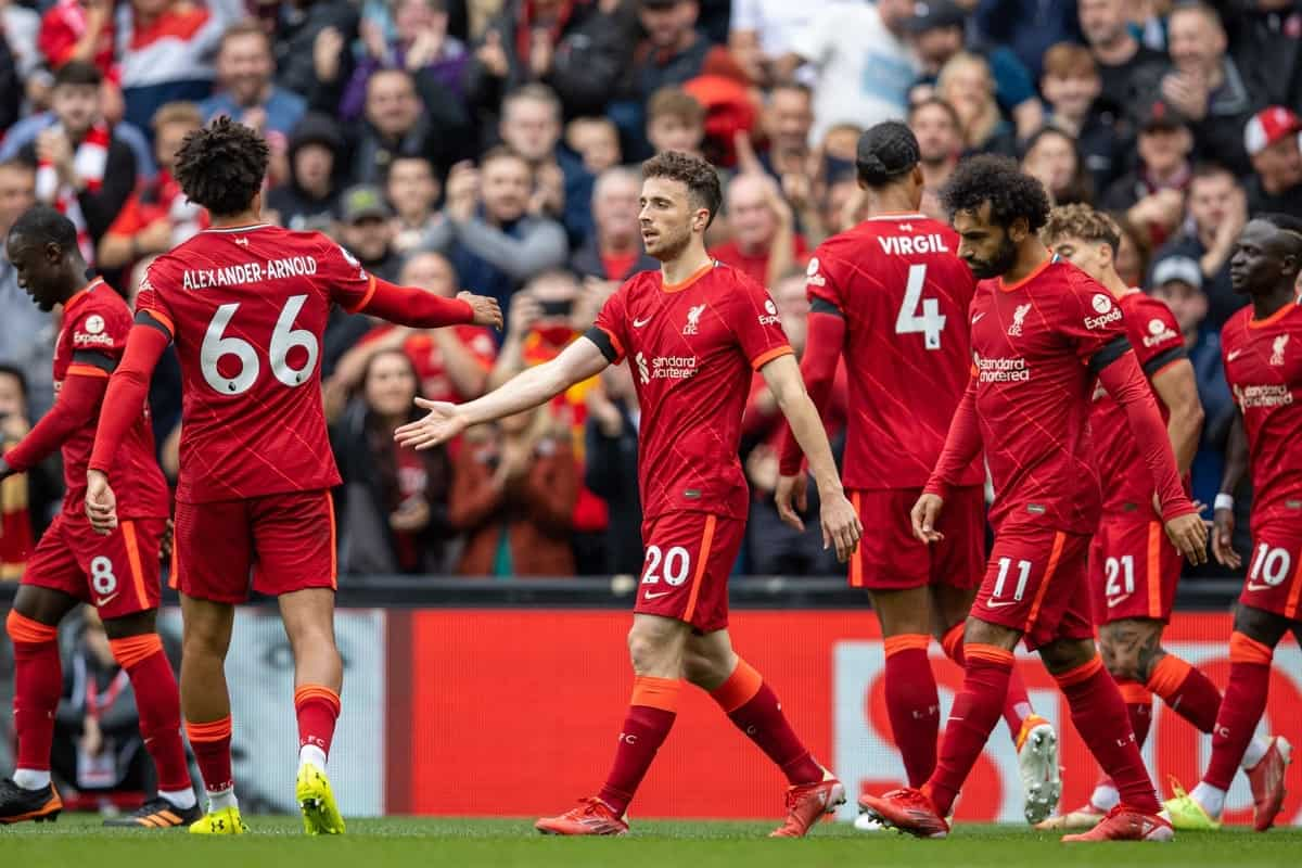 LIVERPOOL, ENGLAND - Saturday, August 21, 2021: Liverpool's Diogo Jota (C) celebrates after scoring the first goal during the FA Premier League match between Liverpool FC and Burnley FC at Anfield. (Pic by David Rawcliffe/Propaganda)