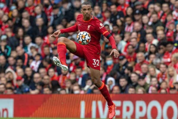 LIVERPOOL, ENGLAND - Saturday, August 21, 2021: Liverpool's Joel Matip during the FA Premier League match between Liverpool FC and Burnley FC at Anfield. (Pic by David Rawcliffe/Propaganda)