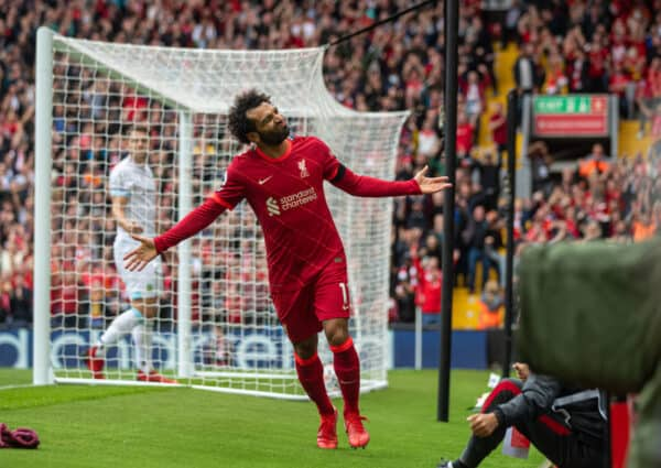 LIVERPOOL, ENGLAND - Saturday, August 21, 2021: Liverpool's Mohamed Salah celebrates a second goal, but it was disallowed following a VAR review, during the FA Premier League match between Liverpool FC and Burnley FC at Anfield. (Pic by David Rawcliffe/Propaganda)