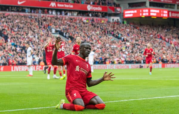 LIVERPOOL, ENGLAND - Saturday, August 21, 2021: Liverpool's Sadio Mané celebrates after scoring the second goal during the FA Premier League match between Liverpool FC and Burnley FC at Anfield. (Pic by David Rawcliffe/Propaganda)