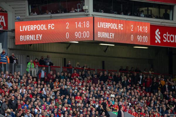 LIVERPOOL, ENGLAND - Saturday, August 21, 2021: Liverpool's scoreboard records the 2-0 victory during the FA Premier League match between Liverpool FC and Burnley FC at Anfield. (Pic by David Rawcliffe/Propaganda)