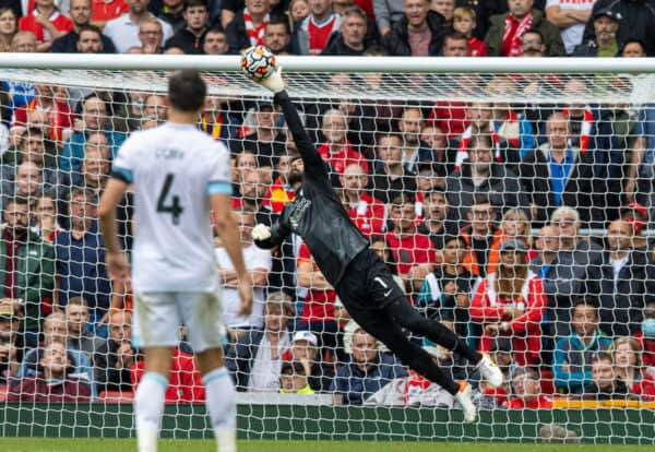 LIVERPOOL, ENGLAND - Saturday, August 21, 2021: Liverpool's goalkeeper Alisson Becker makes a save during the FA Premier League match between Liverpool FC and Burnley FC at Anfield. (Pic by David Rawcliffe/Propaganda)