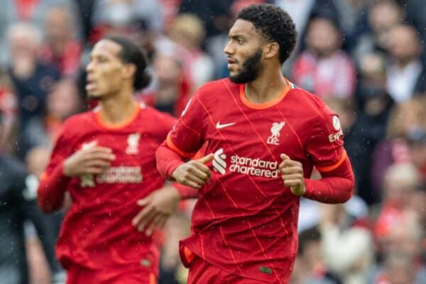 LIVERPOOL, ENGLAND - Saturday, August 21, 2021: Liverpool's Joe Gomez (R) and Virgil van Dijk during the FA Premier League match between Liverpool FC and Burnley FC at Anfield. (Pic by David Rawcliffe/Propaganda)