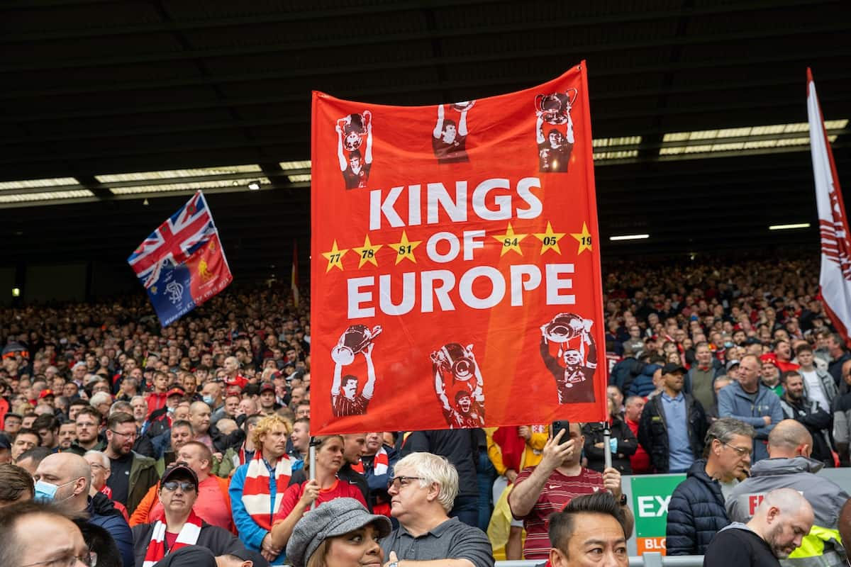 """LIVERPOOL, ENGLAND - Saturday, August 21, 2021: Liverpool supporters' banner """"Kings of Europe"""" before the FA Premier League match between Liverpool FC and Burnley FC at Anfield. (Pic by David Rawcliffe/Propaganda)"""
