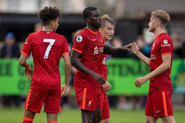 SOUTHPORT, ENGLAND - Monday, August 23, 2021: Liverpool's Sheyi Ojo (C) celebrates after scoring the first goal during the Premier League 2 Division 1 match between Everton FC Under-23's and Liverpool FC Under-23's, the Mini-Merseyside Derby, at Haig Avenue. (Pic by David Rawcliffe/Propaganda)