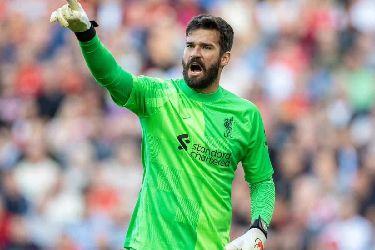 LIVERPOOL, ENGLAND - Saturday, August 28, 2021: Liverpool's goalkeeper Alisson Becker during the FA Premier League match between Liverpool FC and Chelsea FC at Anfield. (Pic by David Rawcliffe/Propaganda)