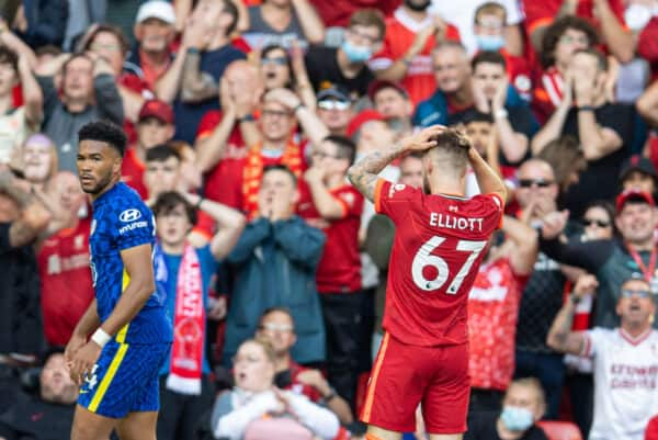 LIVERPOOL, ENGLAND - Saturday, August 28, 2021: Liverpool's Harvey Elliott looks dejected after missing a chance during the FA Premier League match between Liverpool FC and Chelsea FC at Anfield. (Pic by David Rawcliffe/Propaganda)
