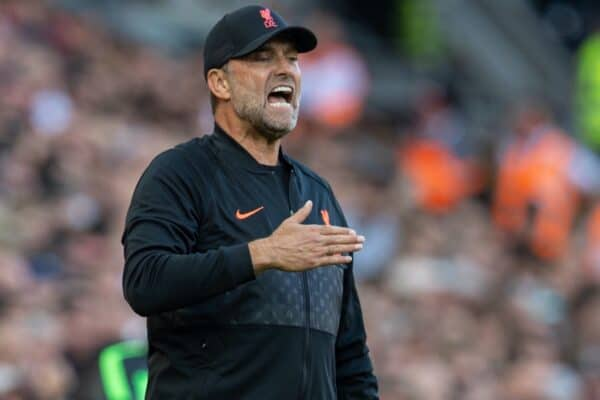 LIVERPOOL, ENGLAND - Saturday, August 28, 2021: Liverpool's manager Jürgen Klopp reacts during the FA Premier League match between Liverpool FC and Chelsea FC at Anfield. (Pic by David Rawcliffe/Propaganda)