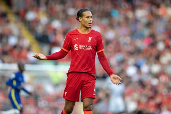 LIVERPOOL, ENGLAND - Saturday, August 28, 2021: Liverpool's Virgil van Dijk during the FA Premier League match between Liverpool FC and Chelsea FC at Anfield. (Pic by David Rawcliffe/Propaganda)