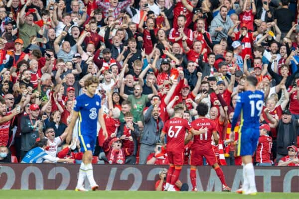 LIVERPOOL, ENGLAND - Saturday, August 28, 2021: Liverpool's Mohamed Salah celebrates after scoring the first goal during the FA Premier League match between Liverpool FC and Chelsea FC at Anfield. (Pic by David Rawcliffe/Propaganda)